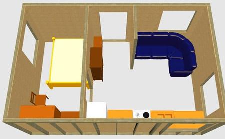 планировка домика 4x6