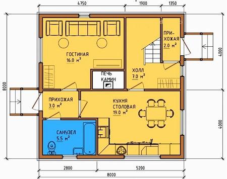дом с печью 8x8