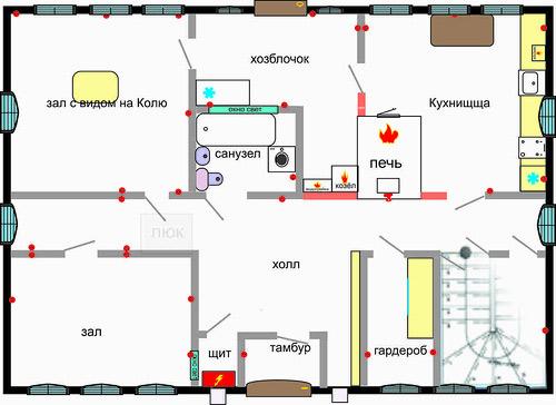 план дома с печкой