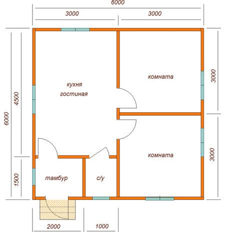одноэтажный коттедж 6x6
