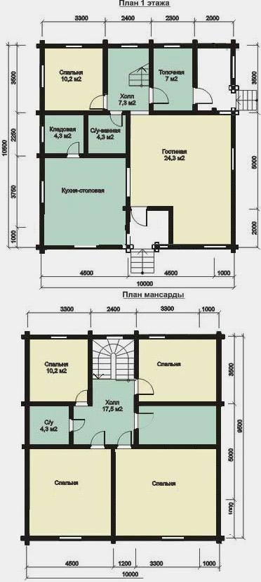 дом из бруса 10x10