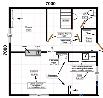план дома с печкой 7x7