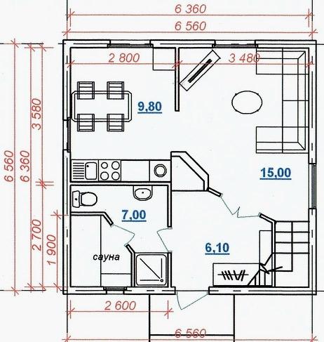 финский дом 6x6