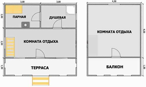 планировка бани 6x6
