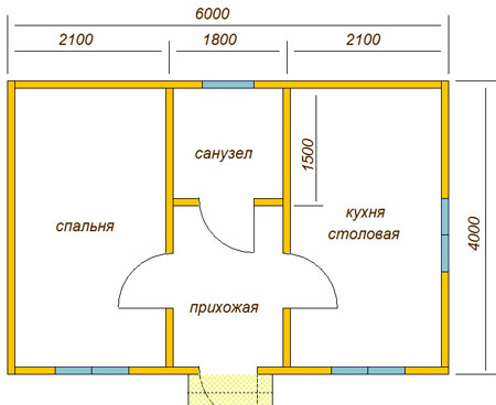 планировка дома 4x6