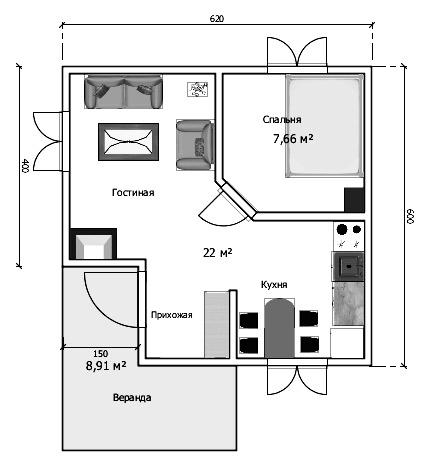 планировка дом 6х6