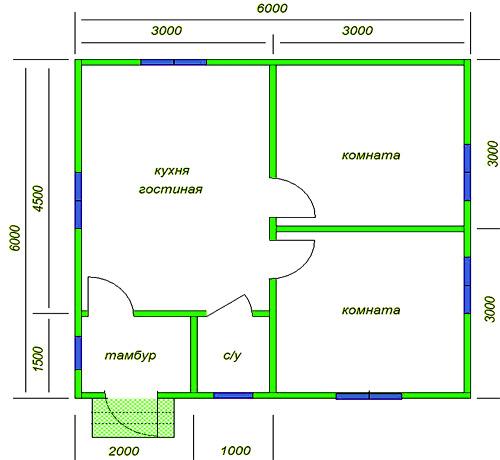 простой дом 6 на 6 метров