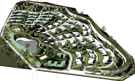 поселок с водоемом