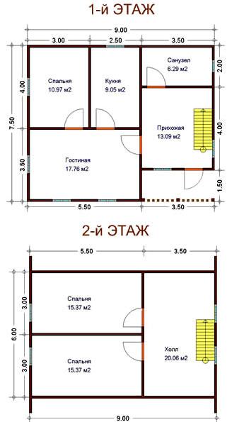 планировка дома из сруба