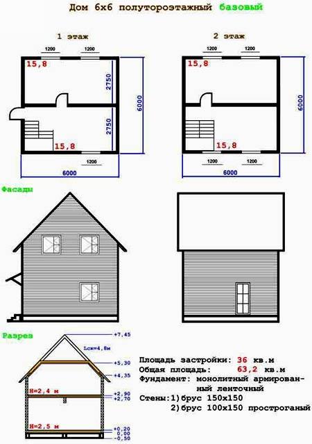 планировка полутораэтажного дома