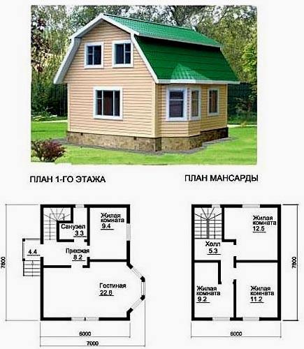планировка дачного дома 7х7