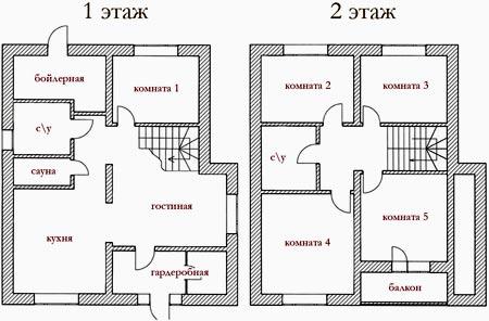 планировка двух этажей дома