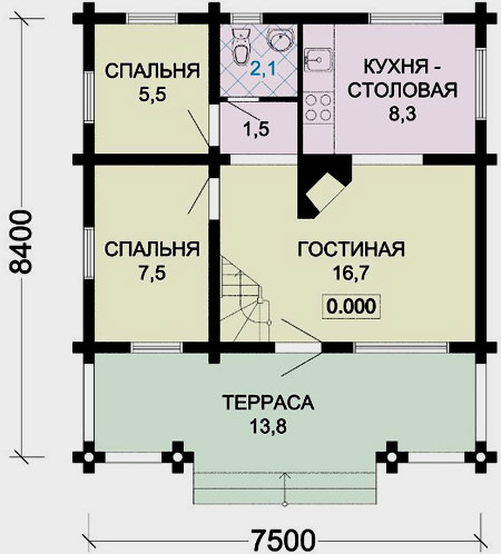 план дома 8х7