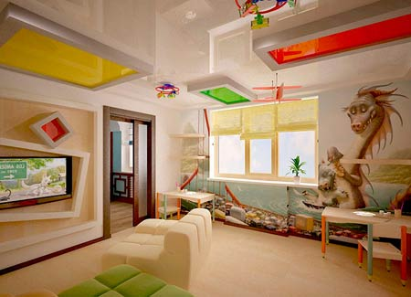 цветовое зонирование гостиной