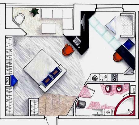 комната студия с кухней