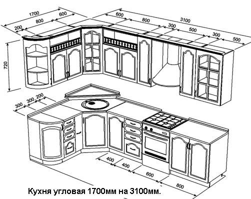 Схема кухни угловой с размерами