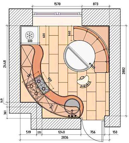 план кухни 9 метров