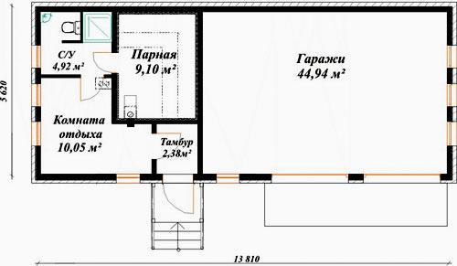 план гаража и бани
