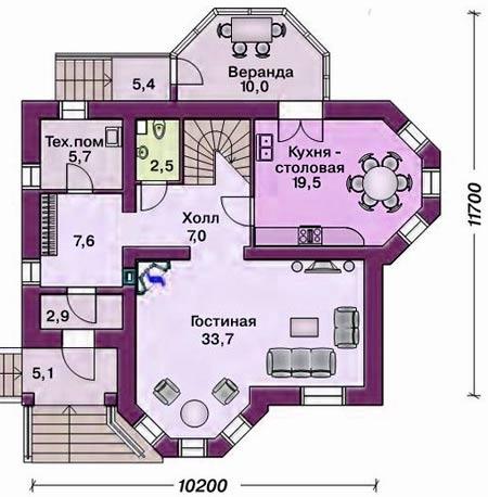планировка дома с эркерами