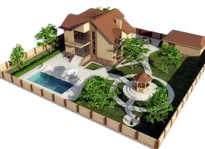участок с бассейном
