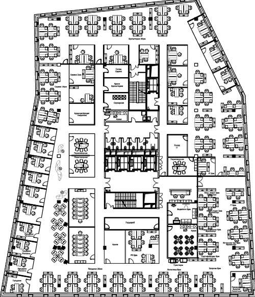 планировка большого офиса
