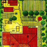 Планировка участка с домом и баней