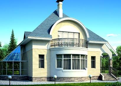 дом с эркером и мансардой