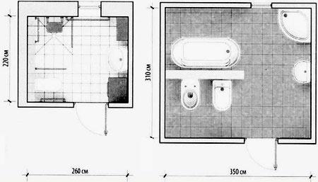 чертеж ванной комнаты