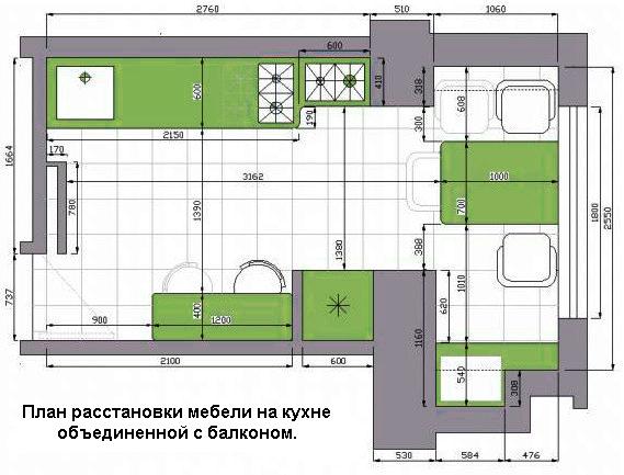 Планировка кухни совмещенной с балконом 9,10, 11 и 12 квадра.