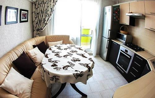 кухня 9 кв.м фото с диваном