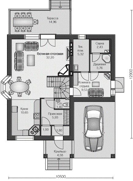 планировка сауны и гаража