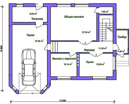 план дома гараж сауна