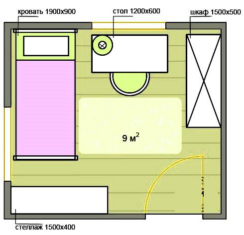 план детской 9 метров