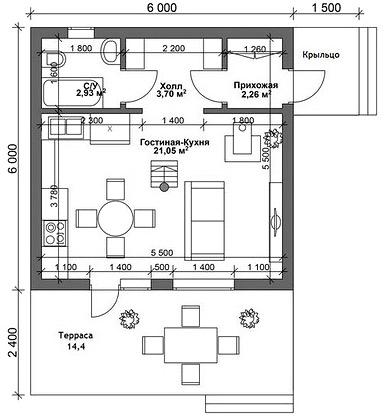 дом 6 на 6 с верандой