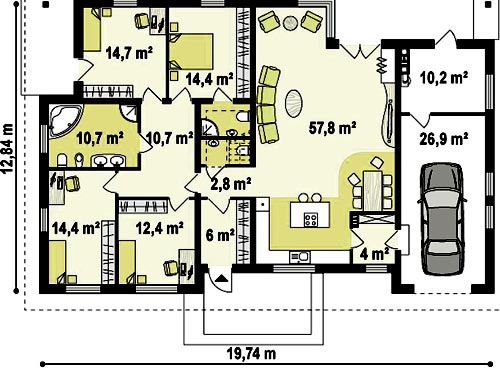гараж дом 4 спальни