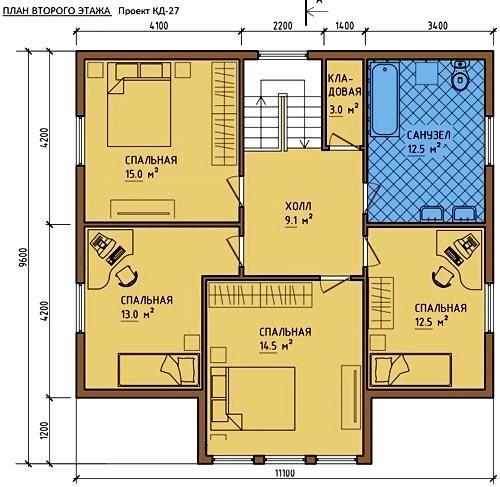 второй этаж 4 спальни