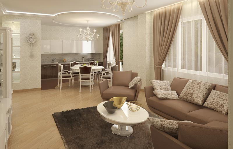 широкое пространство гостиной