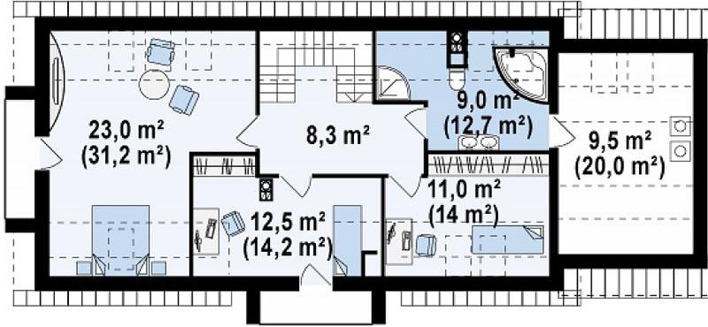 узкий одноэтажный дом