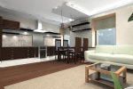 коричневый интерьер кухни