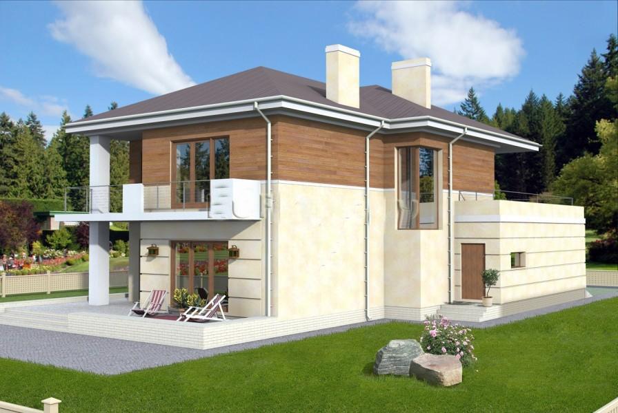 Проект двухэтажного загородного дома с террасой