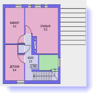 План второго этажа дома 100 кв.м. с террасой