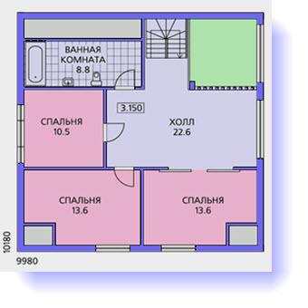 план второго этажа дома 12 на 12