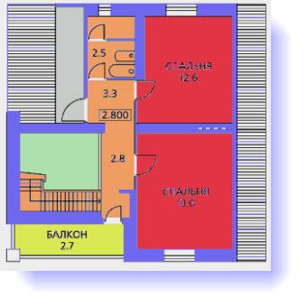 План второго этажа дома с верандой и гаражом
