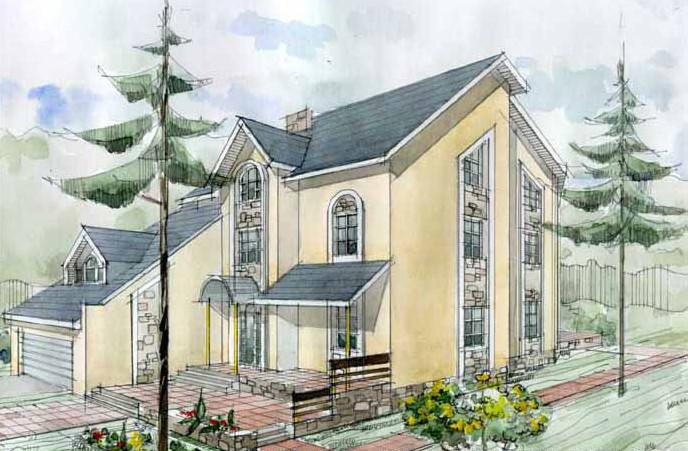 Планировка дома с цокольным этажом, гаражом и оранжереей