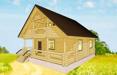 Двухэтажный загородный дом с террасой