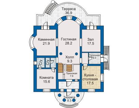 План первого этажа старинной усадьбы