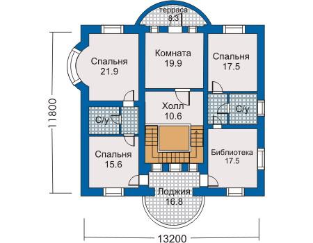 План второго этажа старинной усадьбы