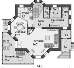 Проект и планировка двухэтажного дома с зимним садом