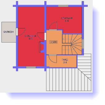 План второго этажа дома 6 на 8