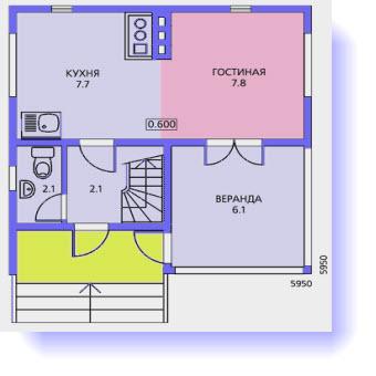План первого этажа дома 6 на 6